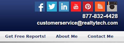 social media icons in the Site Settings menu of their Agent123 Websites.